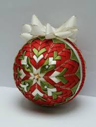 quilted tree ornaments on styrofoam balls