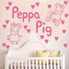 peppa pig wall stickers ebay peppa pig wall sticker decal kit hearts kids bedroom bicycle vinyl art k5