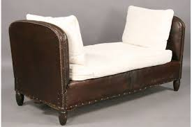 vintage french leather mechanical daybed drop down end for sale