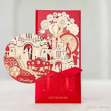 Foil Wedding Invitations Elegant 3d Castle Invitation Card Laser Cut Gold Foil Wedding