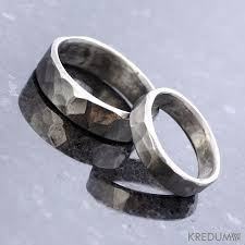 unique metal rings images Hammered wedding band stainless steel womens and mens handmade jpg