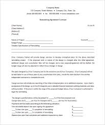 7 remodeling contract templates u2013 free word pdf format download