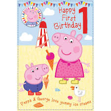 peppa pig birthday happy 1st birthday peppa pig birthday card with badge 300635