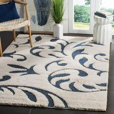 safavieh florida shag cream blue 4 ft x 6 ft area rug sg468 1165