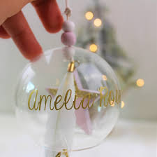 personalised glass bauble pink star u0026 feather love unique boutique