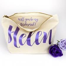 bridesmaid bag personalised bridesmaid make up bag message lilah
