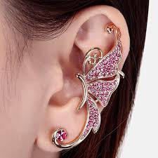 ear cuff one rhinestone butterfly ear cuff in pink twinkledeals