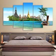 Thailand Home Decor Modular Paintings Home Decor Frame Hd Printed Canvas 5 Pieces