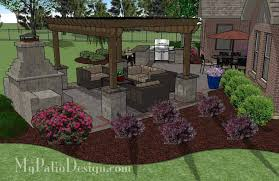 Patio Designs With Pergola by Large Brick Patio Design With 12 X 16 Cedar Pergola Outdoor