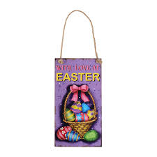 Wooden Hanging Easter Decorations by Aliexpress Com Buy Happy Easter Wooden Hanging Plaque Festival