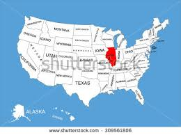 illinois map usa illinois state usa vector map isolated stock vector 309561806