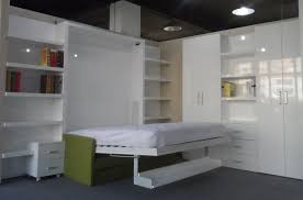 Murphy Bed With Bookshelves Furniture White Wooden Murphy Bed With Green Sofa And White Bed
