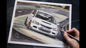 mitsubishi evo drawing mitsubishi evo 8 at the green hell usa car drawing youtube