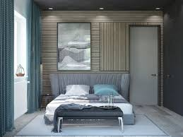 bedroom bedroom with light wood slats accent walls features modern