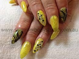 gel nails fluoro fluro yellow nails black nail art crystals and