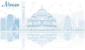 resuma el horizonte de méxico con los edificios azules y las
