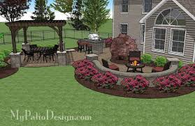 Pavers Patio Design Large Paver Patio Design With Pergola And Grill Station Bar
