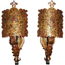 spanish revival colors spanish revival wall sconces w mica shields antiquelighting www