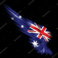 Australia Flags Abstract Wing With Australia Flag On Black Background U2014 Stock