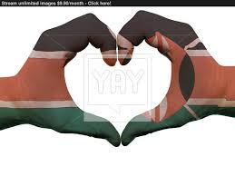 Flag Of Kenya Heart And Love Gesture In Kenya Flag Colors By Hands Isolated On