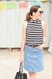 a striped turtleneck tank denim skirt art in the find