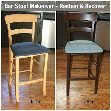 How To Reupholster A Bar Stool Bar Stool Makeover Re Stain Recover Sometimes Homemade
