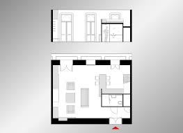 45 sqm modern studio apartment design idea with mezzanine bed plan