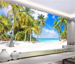 custom mural photo 3d room wallpaper mysterious garden hand custom mural 3d photo wallpaper picture coconut palm beach scenery painting 3d wall murals wallpaper for