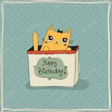 cute cat happy birthday card u2014 stock vector dikaya 26081583