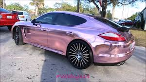 chrome porsche linny j 2k16 car show chrome pink wrapped porsche panamera youtube