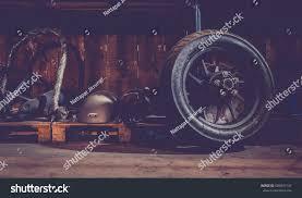 motorcycle wheel on floor workshop tools stock photo 689047147