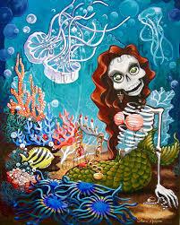 dia de los muertos home decor mermaid skeleton art print dia de los muertos art jellyfish