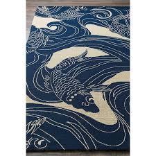 Dolphin Rugs Amazon Com Kana Global Coastal Blue Ocean Koi Outdoor Rug 5 U0027x8