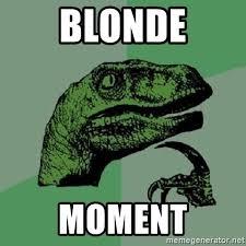 Blonde Moment Meme - blonde moment philosoraptor meme generator