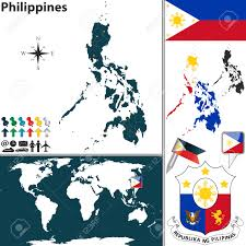 Regions World Map by Vector Map Of Philippines With Regions Coat Of Arms And Location