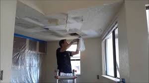 Painting Over Popcorn Ceiling by How To Scrape Popcorn Ceilings Quickly Youtube