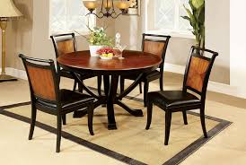 amazon com furniture of america sahrifa 5 piece duotone round amazon com furniture of america sahrifa 5 piece duotone round dining table set acacia and black finish table chair sets