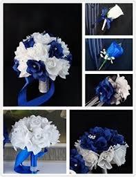 Royal Blue Boutonniere White Silk Flower Arrangements Foter