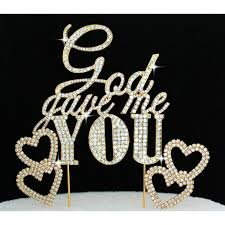 bling wedding cake toppers buy god gave me you bling gold cake topper with 2 hearts