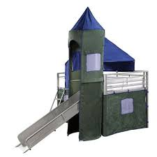 Boys Blue  Green Twin Tent Bunk Bed With Slide Sams Club - Tent bunk bed