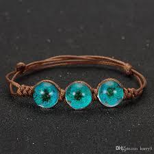 handmade flower bracelet images Online cheap summer style glass ball woven bracelet weave lucky jpg