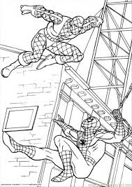 spiderman fights enemy coloring free spiderman