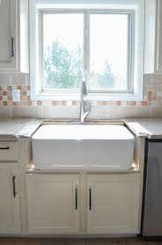 how to install farm sink in cabinet kitchen progress installing the farmhouse sink
