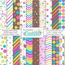 happy birthday seamless patterns digital paper pack
