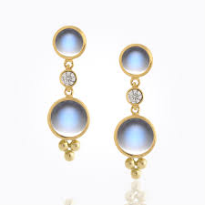 royal blue earrings 18k drop earrings with royal blue moonstone and diamonds
