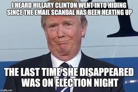 Email Meme - i heard hillary clinton went into hiding since the email scandal has