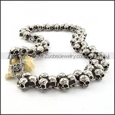 skull link necklace images Motorcycle chain link skull necklace huge in stainless steel jpg