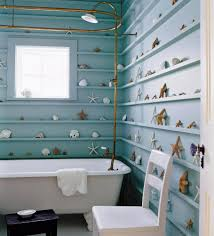bathroom bathroom with coral and starfish ornaments along the