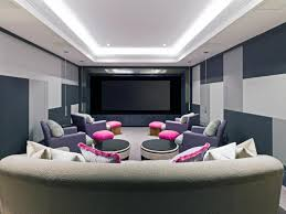 cool room ideas for great home theater with purple pink color