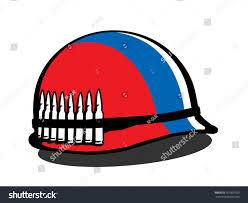 Colors Of Russian Flag Helmet Russian Flag Bullets Militarization Armament Stock Vector